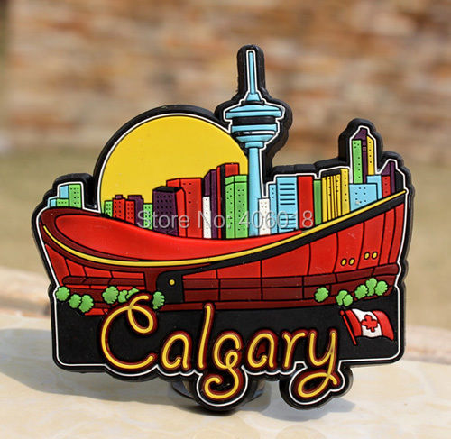 Tourist Souvenir Rubber Fridge Magnet Calgary Canada