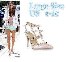 Novo 2106 Mulheres Quentes Bombas Senhoras Dedo Apontado Sexy Alta sapatos de salto alto Moda Buckle Studded Estilete Sandálias Sapatos de Salto Alto Grande tamanho(China (Mainland))