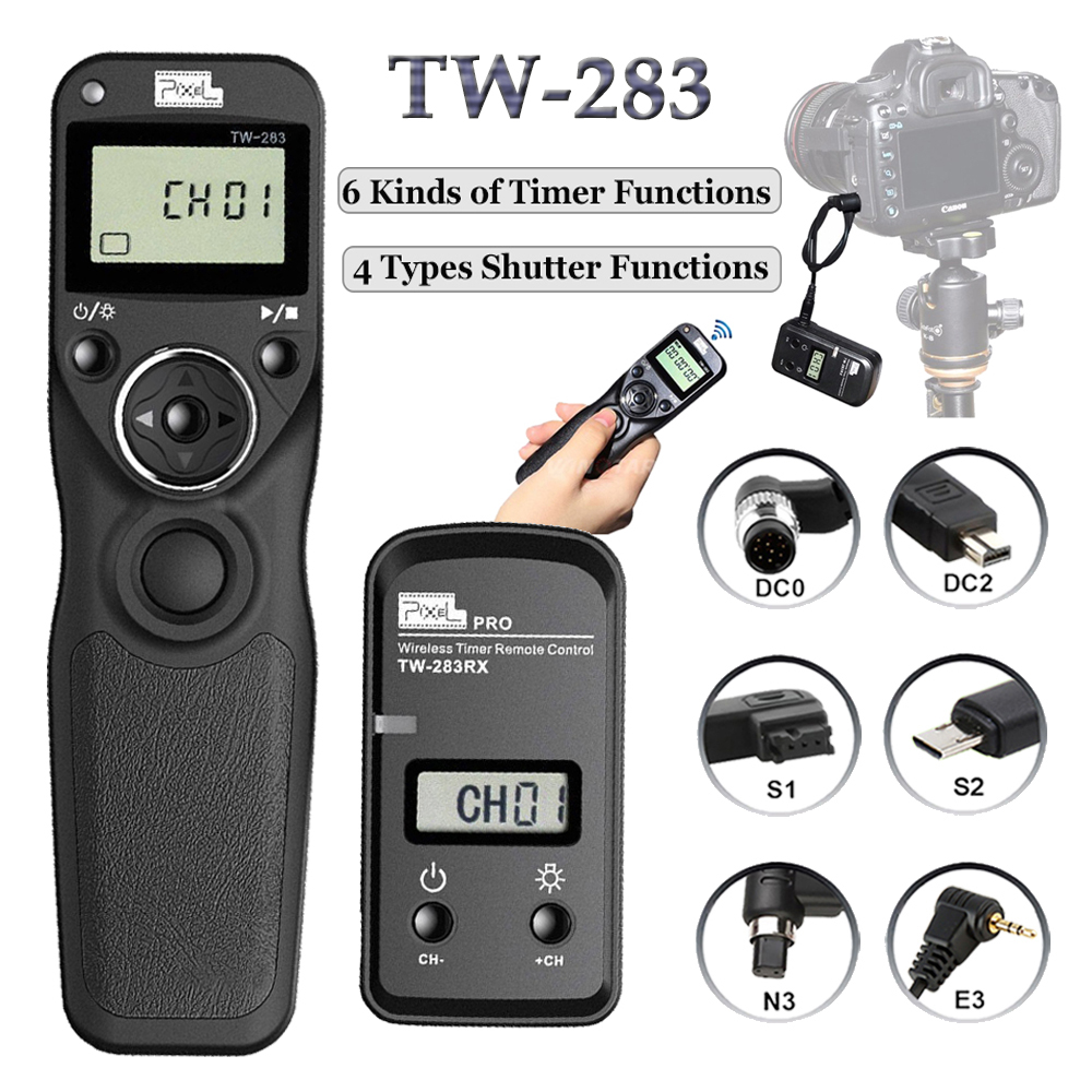 Pixel TW-283 Shutter Release Wireless Timer Remote Control For Canon 6D 5D Mark II 1100D Nikon D7000 D7200 D3100 Sony A6000 A7 viltrox jy 710 camera wireless timer remote shutter release control cable for canon nikon pentax panasonic sony a7 a6000 a6300