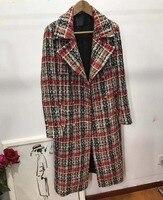 Женские Элегантные casaco feminino удивительные шерстяное пальто большие размеры твид зима Повседневный пиджак женская мода abrigo mujer 5xl 6xl длинное п