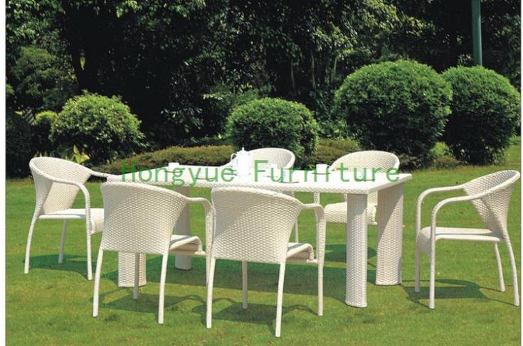 Outdoot new pe rattan dining set furniture supplier