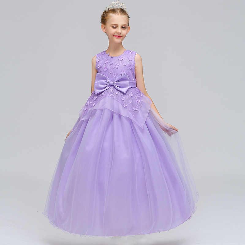 Очаровательные платья принцессы для девочек с бантом и цветочной вышивкой; длинное кружевное платье бальное платье для девочек; праздничное платье для дня рождения; Crianca Vestidos