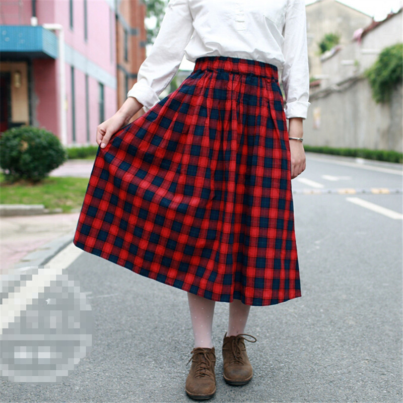 Long Plaid Skirts Women 2016 Size Maxi 6xl Ankle Length High Waist Winter Warm Red
