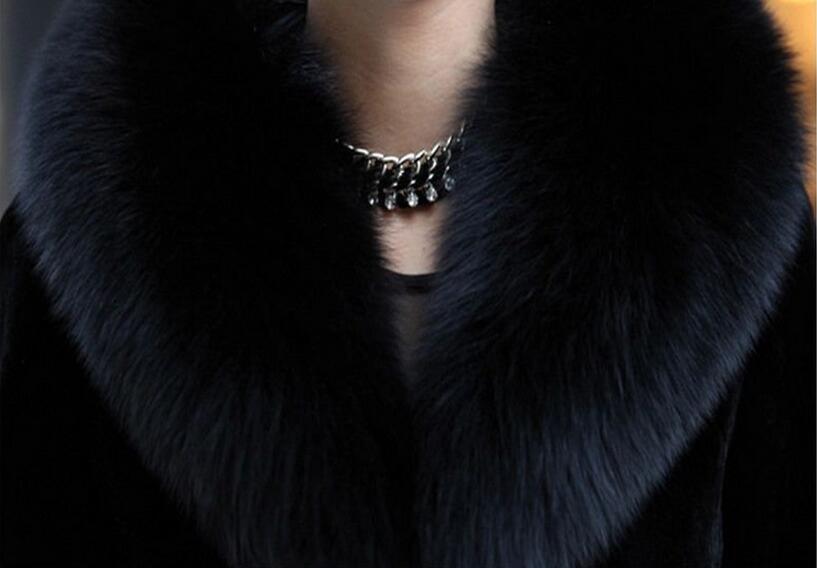 Luxury Classical 100% True Real Rabbit Fur Overcoat Full Pelt Natural Fur Coat with Fox Fur Collar Customize Plus size tbsr100