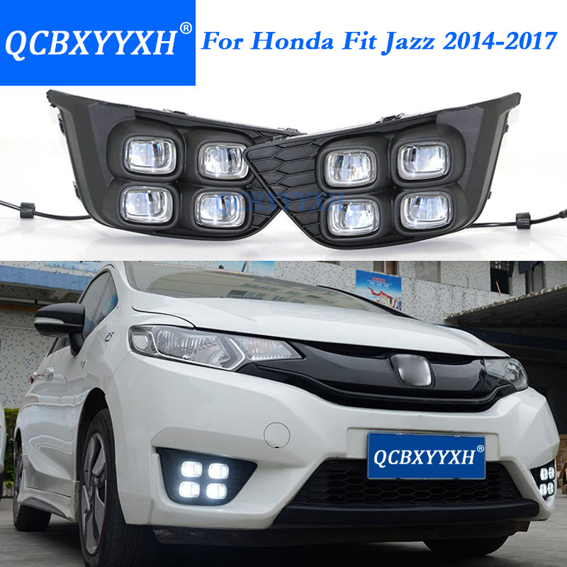QCBXYYXH 12V Car Styling DRL For Honda Fit  Jazz 2014-2017 White Turn Yellow Signal Relay LED Daytime Running Light Waterproof 2pcs led white yellow daytime running lights drl for honda fit jazz 2014 2015