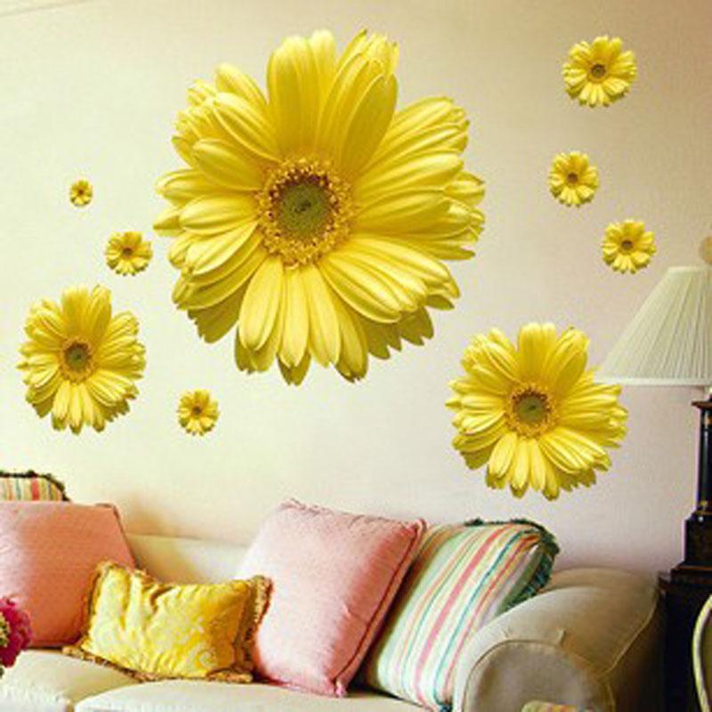 1Set Yellow Flowers Decorative Combination DIY Wall Sticker Decor ...