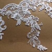 Нежный 1 ярд Ширина 34 см Блёстки Ткань красивые бутик ремесло свадебное платье ленты Кружево Клейкие ленты Одежда Аксессуары yyn533