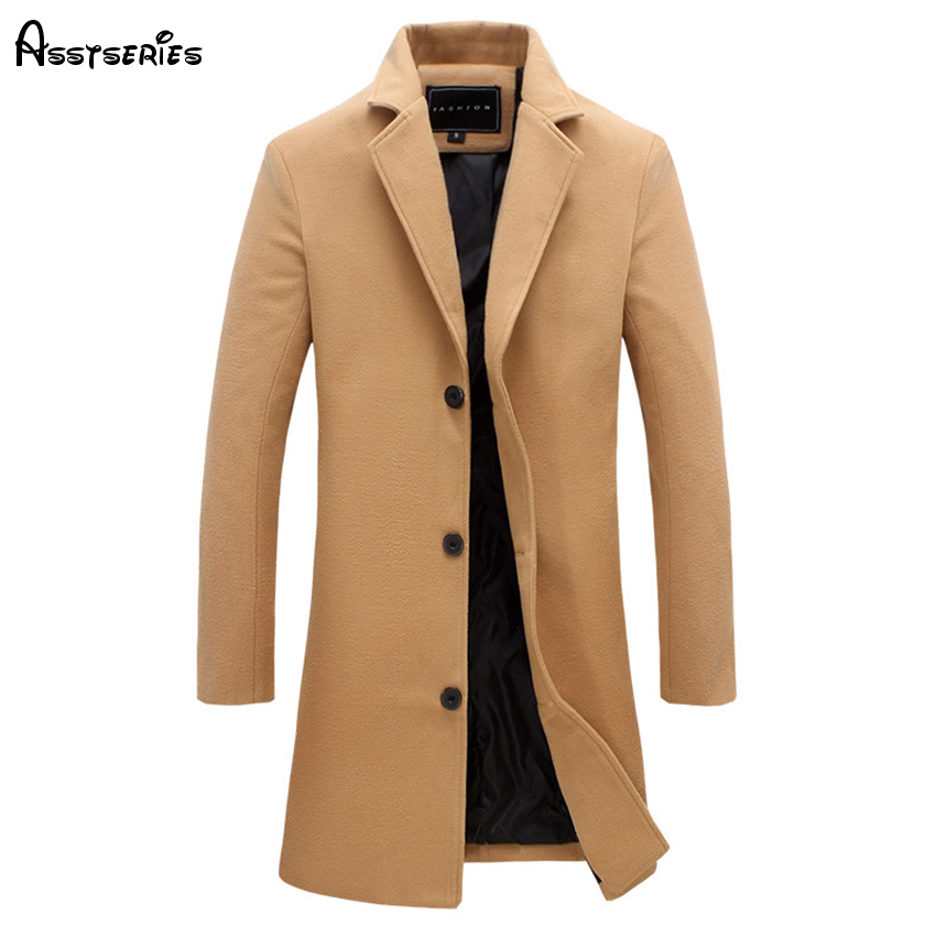 new arrival men's jacket Men Single Breasted   Trench   coat thick solid Mandarin collar Size M-XXL 4 Colors D58