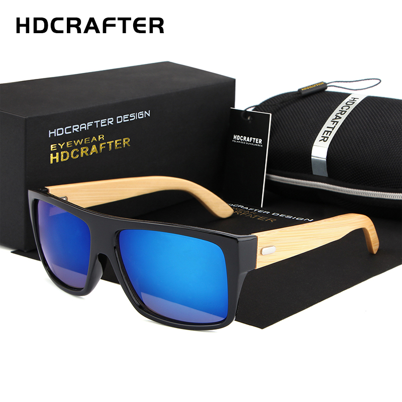 2018 HDCRAFTER Bursts of hot bamboo sunglasses retro wood wooden bamboo legs for men and women sunglasses with High quality