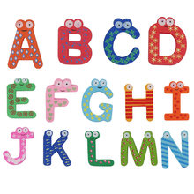 26pcs/set Fridge Wooden Magnet Letter Table Smart Development Toy Child Magnetic Sticker Classroom Whiteboard Gadget 30% off(China)