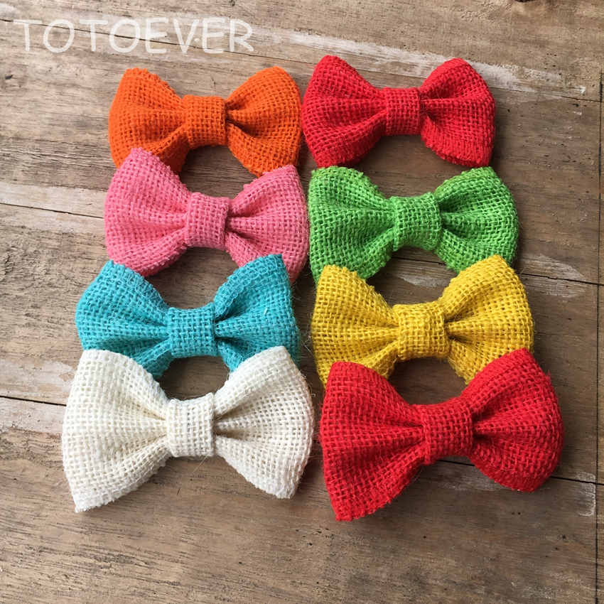 6PCS Natural Jute Burlap Hessian Bowknot Bows Craft Vintage Wedding Decor Supply