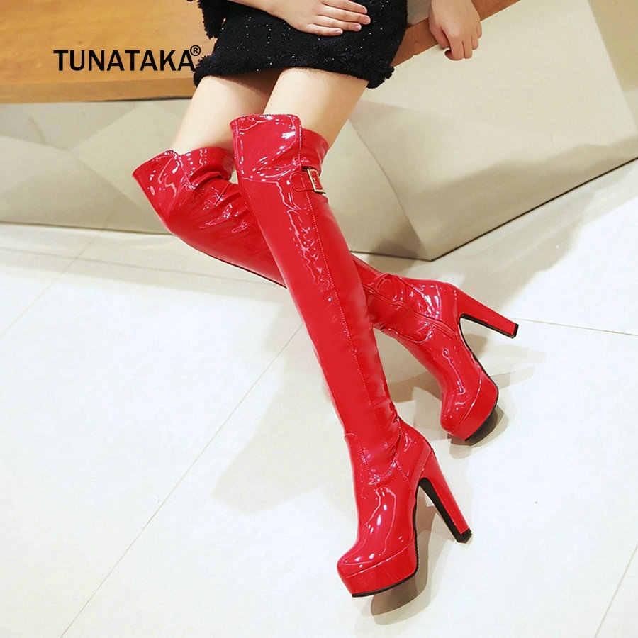 Kadınlar Diz Çizmeler üzerinde Seksi Rugan Uyluk Çizmeler Kare Yüksek Topuk Gece Kulübü Moda Bayan Ayakkabı Kırmızı Siyah Boyutu 43 2018