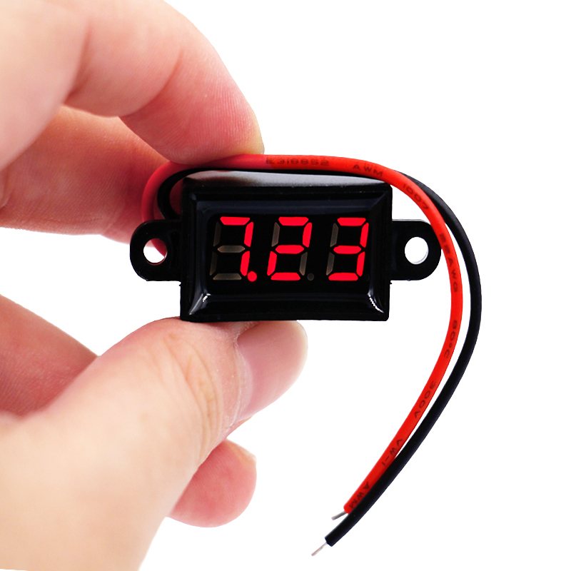 <font><b>10pcs</b></font>/lot New Waterproof 0.28 DC 3.5-30V Mini Digital LED <font><b>Voltmeter</b></font> Volt Meter F 12V Car Moto 10%Off image