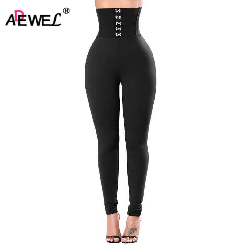 ADEWEL Casual Sexy Women's Black Soft High Waist   Legging   Female Slim Gym Long Pant Elastic Fitness   Leggings   Compression Pants