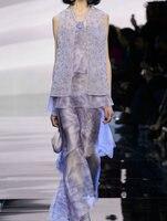 pre sale 2016 spring and summer Women's Sets T Model Catwalk Fashion temperament sleeve less shirt + wide leg pants suit