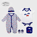Mother's Choice  Baby Boys Five-Piece Set of Baby Grower, Rampers, Bib, Beanie, and Booties