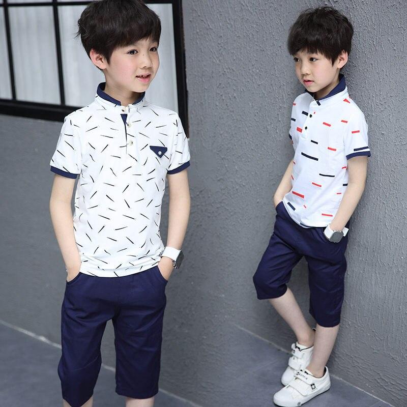 Ternos de verão casuais para meninos conjuntos de roupas meninos algodão treino polo t & shorts 2 pçs conjunto tarja girino impressão 5-12y