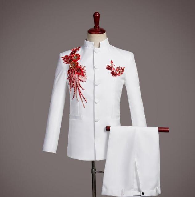 מקהלה חתן חתונה חליפות גברים חליפת טוניקה הסינית נצנצים אופנה slim masculino האחרון מעיל צפצף עיצובים זינגר שלב לבן