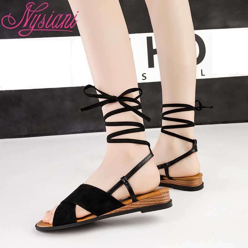 2019 Gladiator Lace Up Sandals For Women Cross tied Student Casual Shoes Square Heel Open Toe Sandals Women Nysiani in Low Heels from Shoes