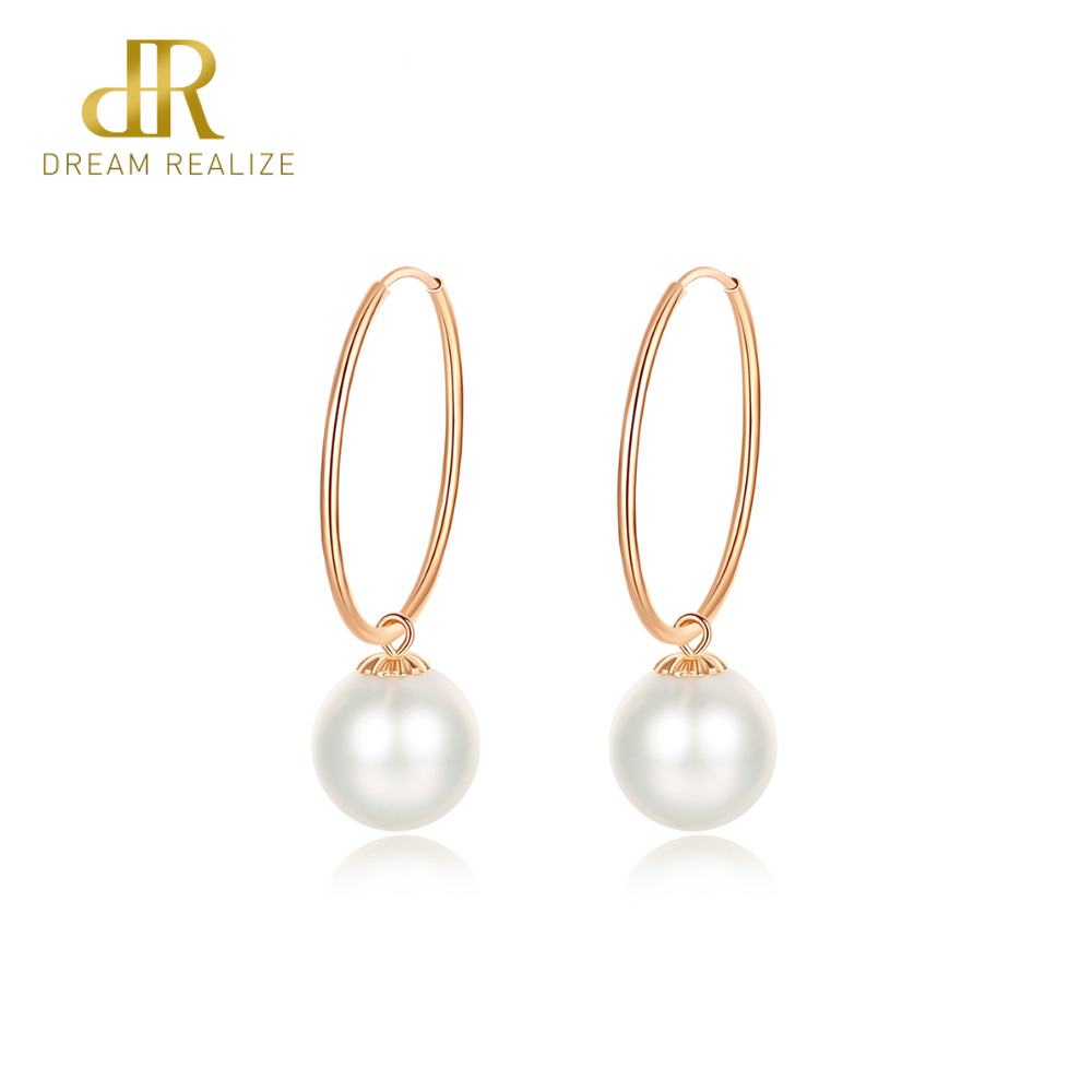 DR 2019 Exquisite 18K Yellow Gold Pearl Hoop Earrings for Women Round Ball Natural Pearl Engagement