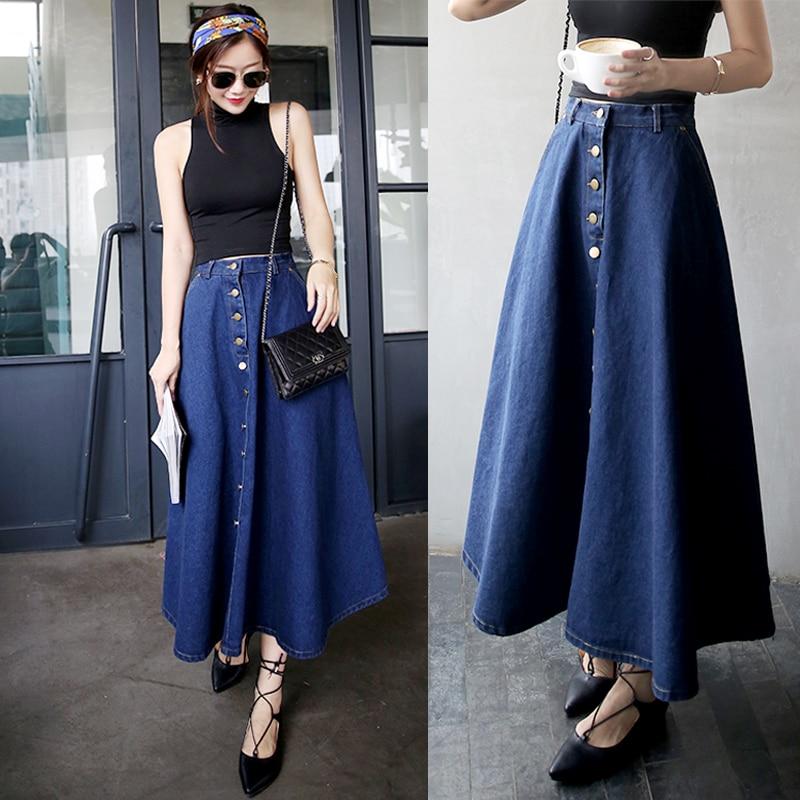 Floor Length Denim Dress