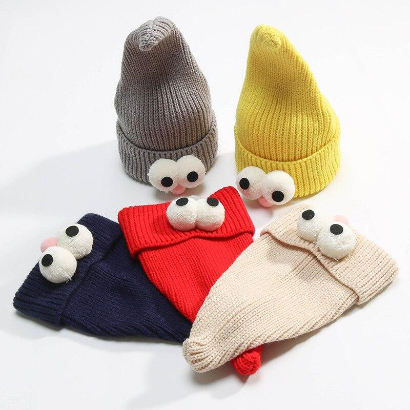 Funny Kids Winter Knitted Hat Cute Pokemon Cartoon Wizard Eye Shape Curled Knit Cap Bonnet Children Warm   Beanie     Skullies   baby
