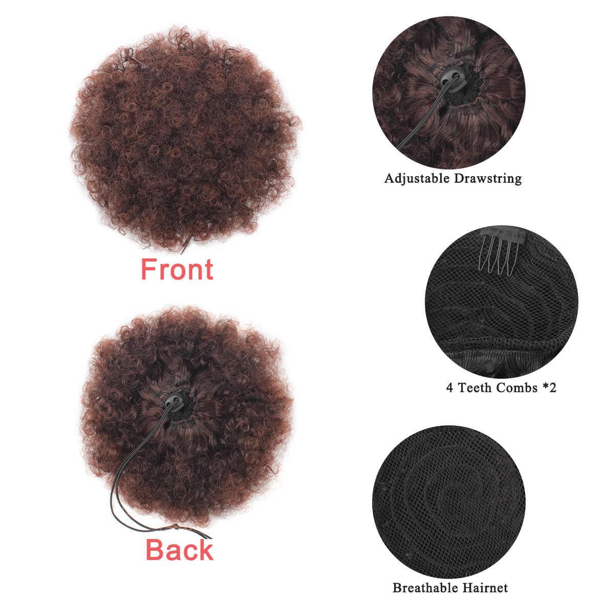 Leeven Cola de Caballo alto pelo Puff Clip en moño Afro rizado sintético cordón extensiones de cabello cola de caballo