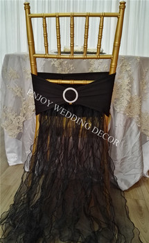 10pcs YHC#115 fancy organza chair back dress with pleats organza skirt for chair decor