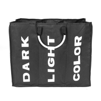 Laundry 3 Sorters Hamper Clothes Storage Basket Bin Organizer Washing Bag