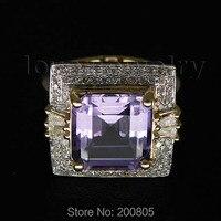 Princess Cut Solid 14kt Gold 6.10Ct Diamond Purple Amethyst Ring,Wedding Amethyst Ring BAB1417