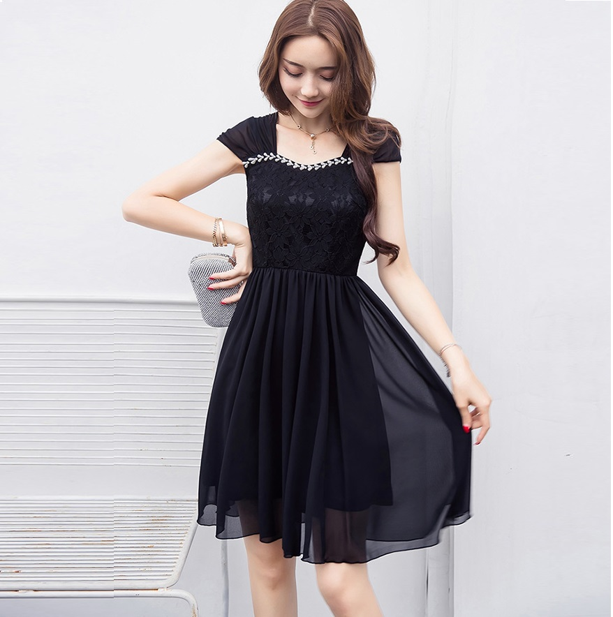New2017Summer women elegant chiffon dress Plus Size beaded lace patchwork pinched waist dress female casual vestidos XXXXL 18019