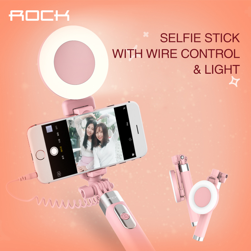 Ulanzi ROCK Selfie Stick with Ring Led Light and Mirror Cute Fashion Android Wired Self Stick