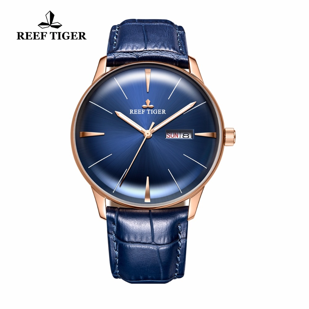 New Reef Tiger/RT Mens Dress Watches Convex Lens Watches Rose Gold Blue Dial Automatic Watch with Date Day RGA8238