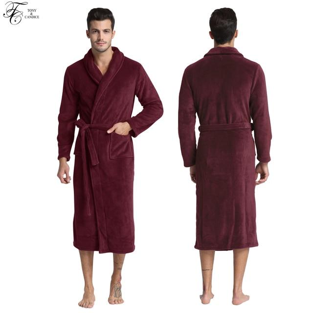 6e5c6064a8 Tony Candice Bathrobe Men Thick Fleece Winter Male Dressing Gown Towel  Sleepwear Solid Nightgown Kimono For Long Flannel Pyjamas-in Robes from  Underwear ...