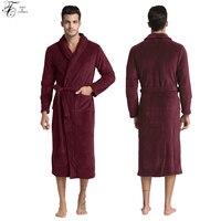 Tony et Candice Peignoir Hommes Épais Polaire Hiver Mâle Peignoir Serviette de Nuit Solide chemise de Nuit Kimono Pour Longue Flanelle Pyjamas