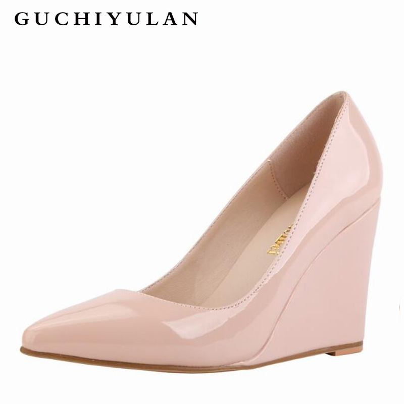 Summer High Heels Wedge Platform Women Patent Leather Pointed Toe Casual Party Punk Rivet Ladies Candy Colors Wedges High HeelsSummer High Heels Wedge Platform Women Patent Leather Pointed Toe Casual Party Punk Rivet Ladies Candy Colors Wedges High Heels
