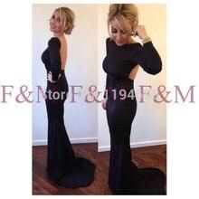 Sexy Lady Schöne New Fashion Design Long Sleeves Backless Schwarz Bodenlangen Neueste Elegante Abendkleider