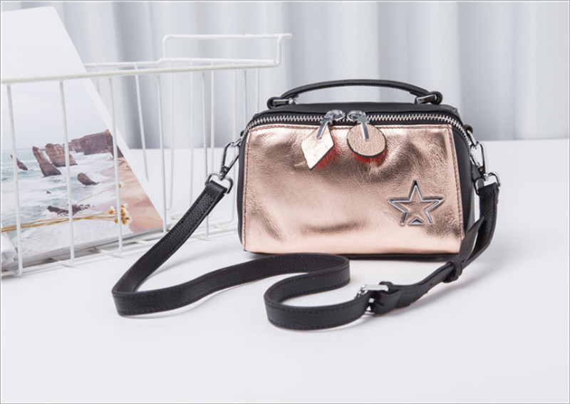 ALAVCHNV original design hit color new European and American first layer leather shoulder diagonal pillow pack