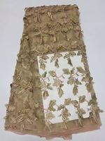 African Lace Fabric 2017 Embroidered Nigerian Laces Fabric Bridal High Quality French Tulle Lace Fabric For Women AMZ595 gold