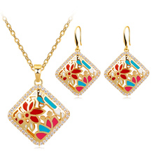 Enamel Red Lotus Flower Jewelry Set Abstract Necklace & Pendant Wedding Jewelry for Women Copper Alloy