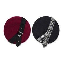 Береты для женщин Harajuku берет шляпа тьма девушки панк Рок Любовь Пряжка Черный шерстяной художника Французский Винтаж зимняя шапка