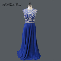 Robe De Soiree Longue Real Dresses O Neck Shiny Beading Open Back A Line Long Party Evening Navy Blue Dresses for Girls