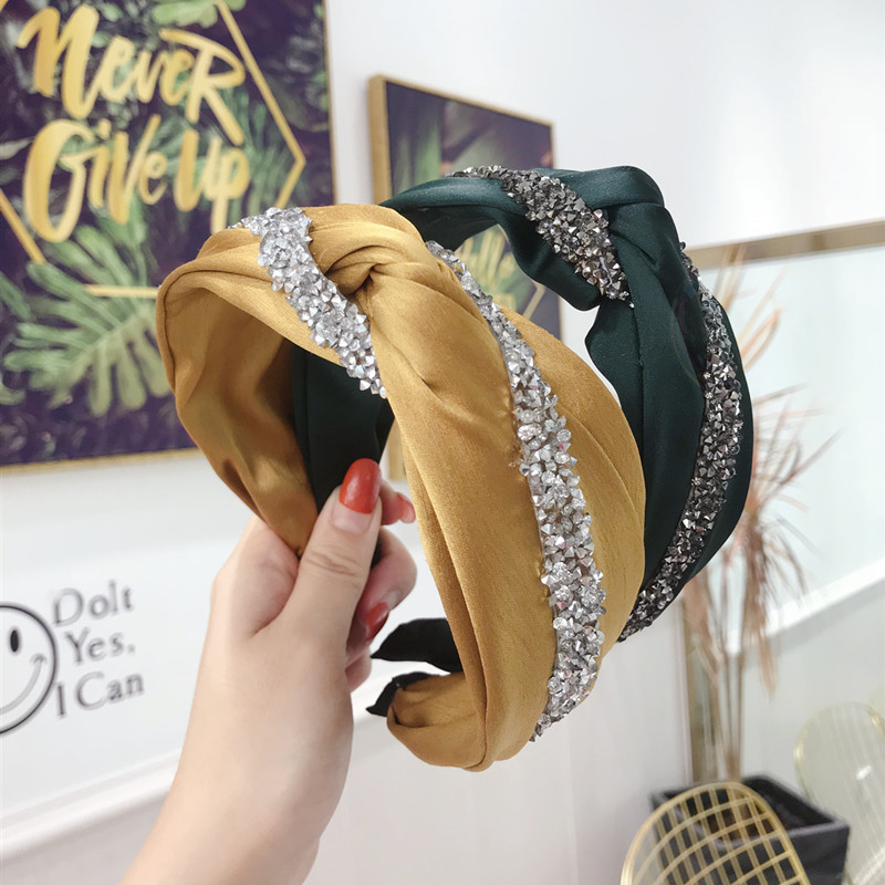 Haimeikang Cross Knot Hairband Fashion Rhinestone Headband For Women Customized Hair Hoop Solid Color Novelty Hair Accessories