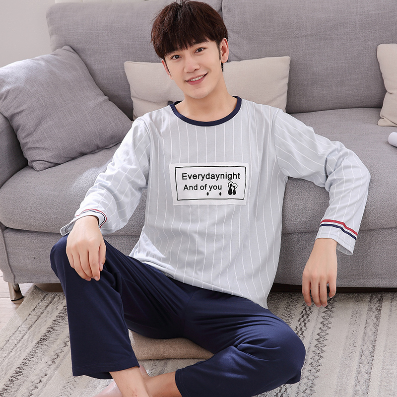 ALI shop ...  ... 32901432970 ... 4 ... Winter Autumn Mens Pajamas 100%Cotton Letter Striped Cartoon Pajama Set Long-sleeve Casual Men Pyjamas Plus Size L-XXXXL Pijama ...