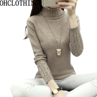 Women Sweater 2017 Winter Autumn Twisted Flowers Knitted Sweaters Warm Thincken Turtleneck Pullover Long Sleeve Women