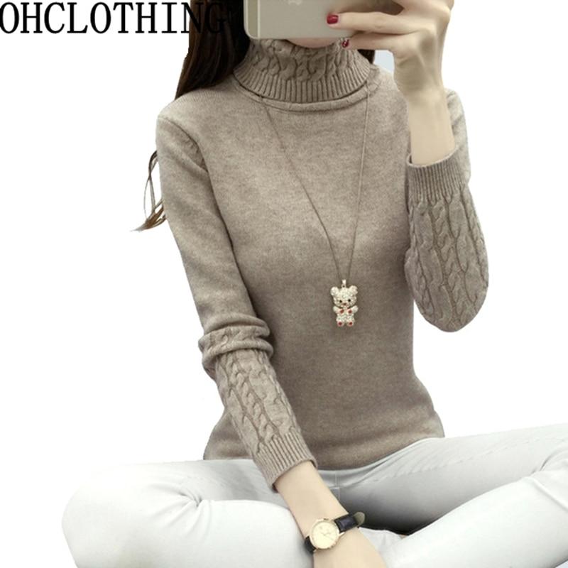 Women Sweater 2017 Winter Autumn Twisted Flowers Knitted Sweaters Warm Thincken Turtleneck Pullover Long Sleeve Women