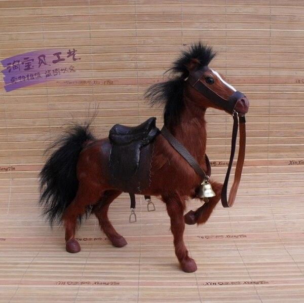 Newsimulation cheval de guerre jouet polyéthylène & fourrures marron cheval modèle avec selle cadeau environ 24x6x23 cm 1432