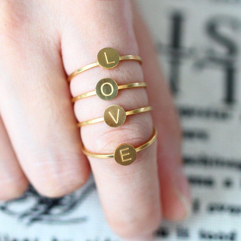 SHE WEIER stainless steel letter finger rings for women engagement ring set wedding love couple titanium wholesale lots bulk(China)