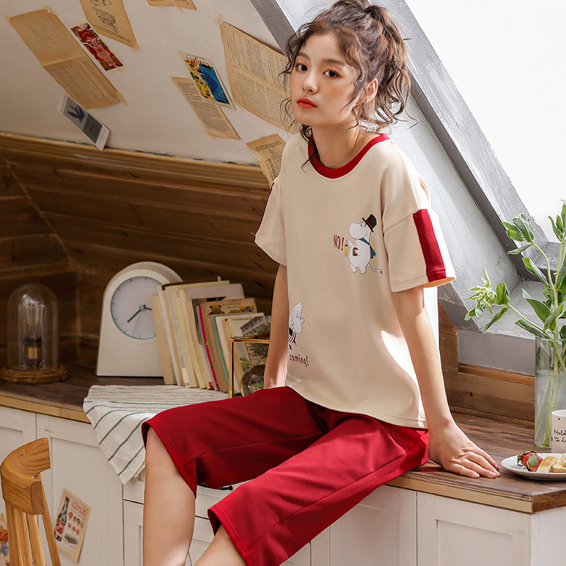 Summer 2019 new 6535 cotton women   pajamas     set   female sweet short sleeve cropped pants home clothing 2 piece suit