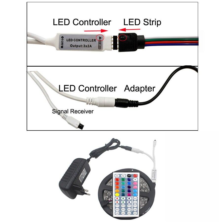 5 M RGB LED de luz de tira de SMD 5050 de cinta RGB impermeable ...